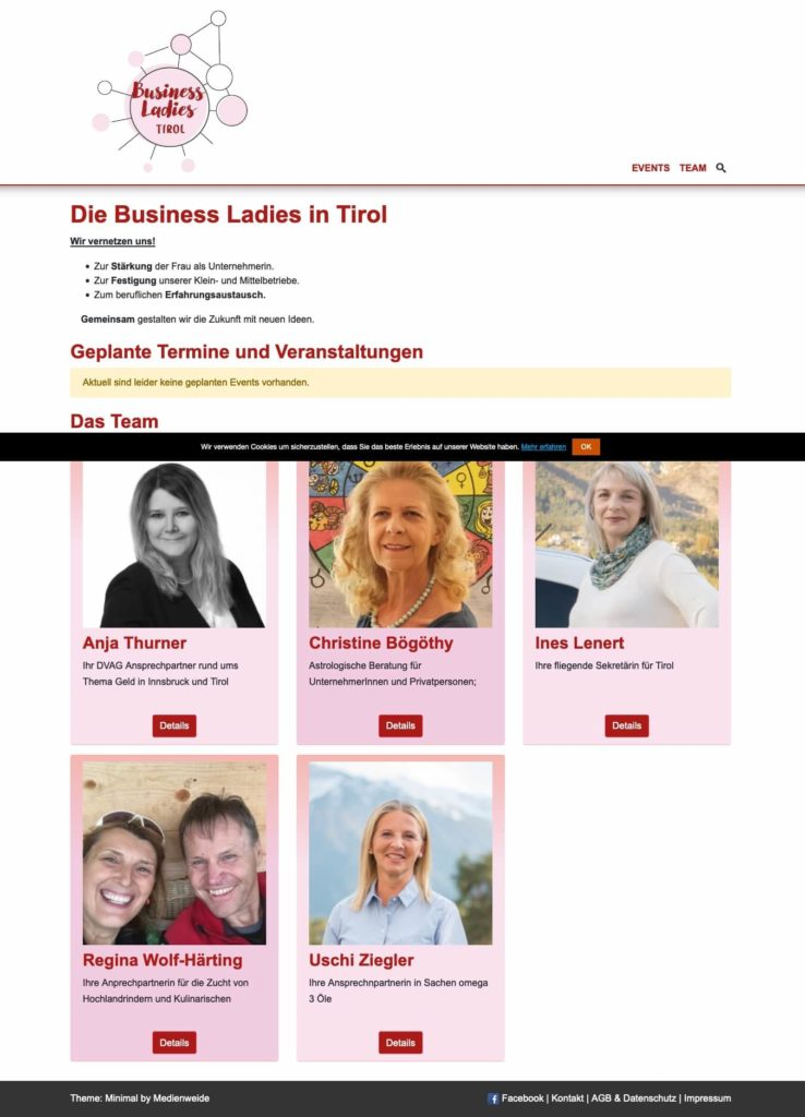 Webseite der Business Ladies TIrol