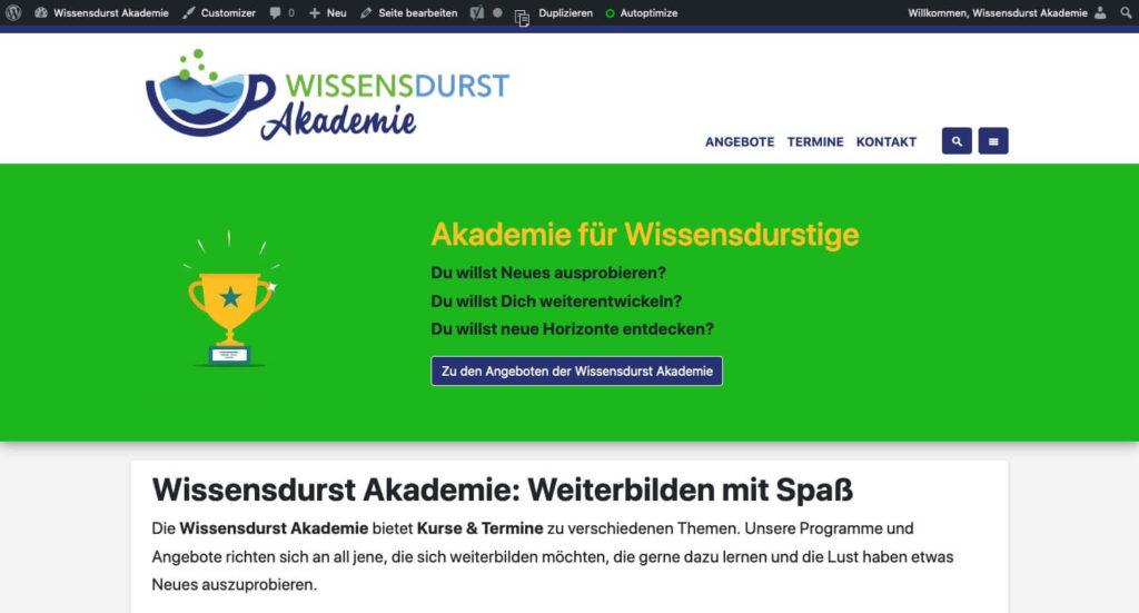 Webseite der Wissensdurst Akademie
